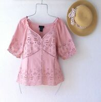 New~Rose Pink Eyelet Lace Peasant Blouse Crochet Ruffle Boho Top~Size Medium M
