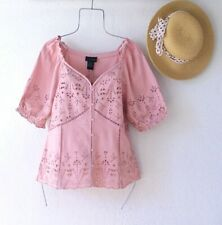 New~Rose Pink Eyelet Lace Peasant Blouse Crochet Ruffle Boho Top~Size Large L