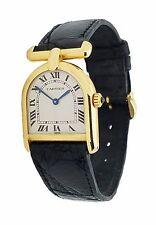 Ladies Cartier Calandre Asymmetrical Bell / Stirrup Solid 18k Gold 1980s Watch