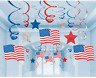AMERICAN FLAG SWIRLS AMERICA USA STARS STRIPES HANGING PARTY DECORATION 4TH JULY