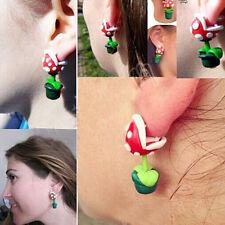 1 Pair Super Mario Piranha Plant Corpse Flower Polymer Clay Earrings Ear Stud