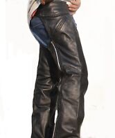 Men's Black Advanced Dual Comfort Leather Chaps With Mesh Lining  Handmade