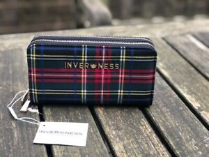 Inverness Tartan Check Adele Double Zip Purse/Clutch in 4 different Clans Colour