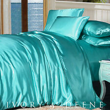 LUXURY Soft Silk Feel Turquoise SATIN KING Size Doona Duvet Quilt Cover Bed Set