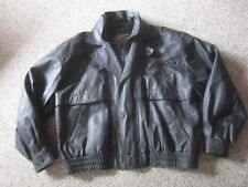 "LUCKY LEATHER CO BLACK ZIP BOMBER JACKET MENS XL? 2XL? CHEST 54"" LIGHT FILL"