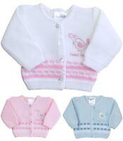 BabyPrem Baby Girls Pink White Plain Knit Bolero Fancy Cardigan Cardi Sweater