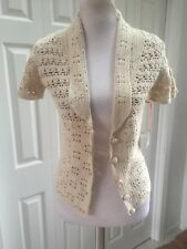 NWT Intuitions Ivory Crochet Bolero Button Sweater  Collar S
