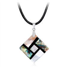 Fashion Women Ethnic Style Square Shaped Natural Abalone Shell Pendant Necklace