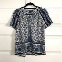LUCKY BRAND Blue Floral Boho V-Neck Short Sleeve Tunic Top Women's Medium