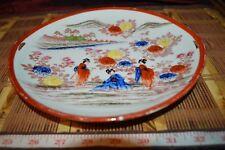 "Asian Porcelain Orange Floral Cake Plate Handpainted Geisha Girls  9 5/8"" Marked"