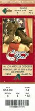 Ticket Baseball Arizona Diamondbacks 2003 - 9/10 - Los Angeles Dodgers