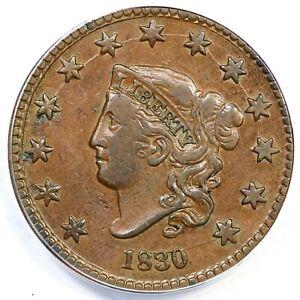 1830 N-2 R-2 ANACS VF 35 Details Matron or Coronet Head Large Cent Coin 1c