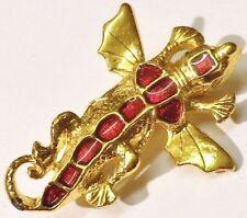 broche bijou style vintage couleur or lézard ailé émail rouge vernis  2559