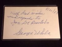 GEORGE UHLE Autographed Signed AUTO INDEX CARD 3X5 D. 1985 INDIANS