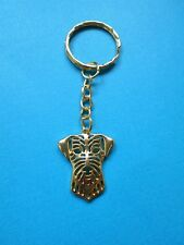 Jack Russell Dog Charm Keyring Metal Bag Key Ring Gold Tone Wire Haired Terrier