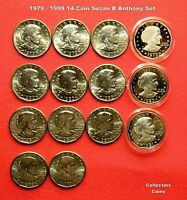 1979 1980 1981 1999  $1 Susan B Anthony Dollar 14 Coin P+D+S+S Uncirc/Proof Set