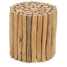 Round Teak Timber Driftwood Side Table Or Stool