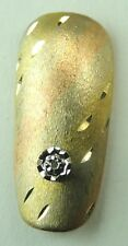 Fingernail 14K Diamond Cut Two Color Gold  with Diamond Accent