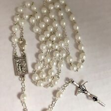 LOURDES BERNADETTE pearl rosary made in Poland Italian parts 18.5""