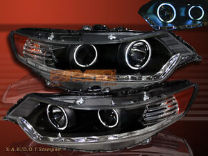 Fit For 2009-2012 ACURA TSX JDM BLK CCFL HALO R8 STYLE LED PROJECTOR HEADLIGHTS