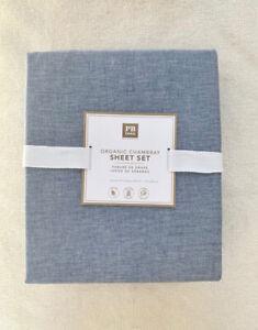 Pottery Barn Teen organic chambray sheet set Full  Navy
