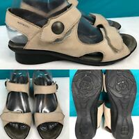 Womens MEPHISTO Air-Relax Tan-Beige Leather Slingback Sandals SIZE 38 US 8
