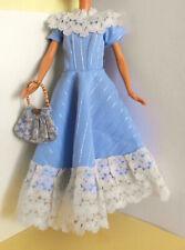 °° Barbie & Co - Vintage - Kleid + Tasche - blau - 29 cm (11,5'') Puppe °°