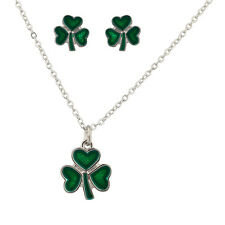 Lux Accessories Three Leaf Heart Clover Saint St Patricks Day Necklace Matching