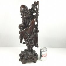Large Antique Finely Carved Chinese Figure Of A Sage 52cm Carving