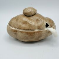 Vintage Ceramic Covered Dish Baked Potato Sour Cream Holder With Spoon