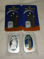 Set Of 2 Grim Reaper Masters Of Terror .999 Silver Enameled Art Bars CMG Mint