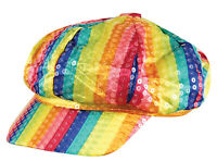 Rainbow Sequined Striped Hat Cap Gay Pride Rave Party Carnival LGBT Festival