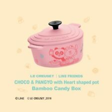 HK 7-11 LINE FRIENDS X LE CREUSET CHOCO PANGYO Heart Shaped Pot Bamboo Candy Box