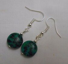Unique handmade green chrysocolla round silver plated earrings + stoppers