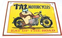 "Taz Motorcycles Eat Up The Road Tin Sign Looney Tunes 17"" x 12"" Collectible 1997"