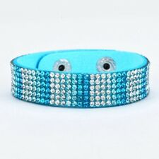 Blue Ombre Pave Crystal Adjustable Suede Strap Wrap Bracelet