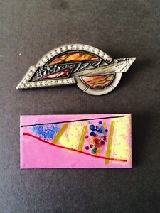 VINTAGE BROOCH PIN DURI ABALONE SHELL 1980s PLUS OTHER ENAMEL ON METAL PINK