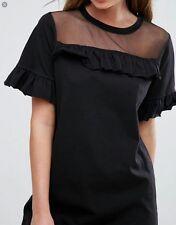 Womens black sheer yoke cotton jersey ruffle mini dress by Boohoo fits 12 14 NEW
