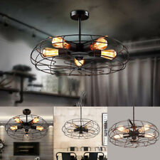 Vintage Industrial Ceiling Light Pendant Lamp Chandeliers Metal Fan Cage Fixture