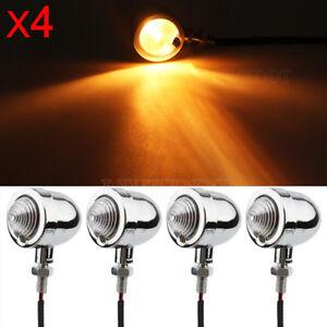 4x Chrome Bullet Turn Signal Light Amber For Yamaha V Star 250 650 1100 1300