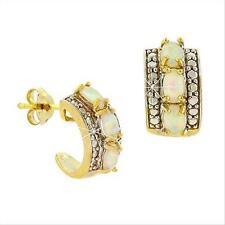 18K Gold over 925 Silver White Opal & Diamond Accent Half Hoop Earrings