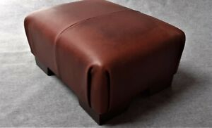 Footstool / Small Stool /  real leather Vintage Brown    (code 5)