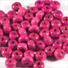 Lot de 100 perles rondes en Bois 6mm Fuchsia