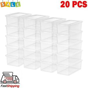 20 Pack Shoe Storage Boxes Plastic Bin with Lid Stackable Design Container Clear