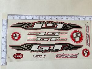 GT Pro Series 4130 CR-MO  Stickers  White, Black & Red. Die Cut.