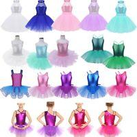 Kids Girls Ballet Dress Jazz Latin Dance Sequined Leotard Tutu Skirt Costume