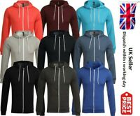 Plain Mens American Fleece Zip Up Hoody Sweatshirt Hooded Zipper Top S-5XL New