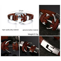 Vintage Leather Cuff Bangle Silver/Brown Anchor Bracelet Strip Wrap Wrist band