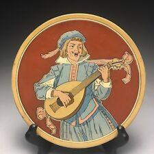 Antique Mettlach Vileroy & Boch Stoneware Minstrel Roundel Plaque Plate