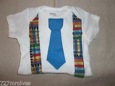 Handmade 100% Cotton Playsuit  Multi-Color Crayon Suspenders & Blue Tie 3-9 mos